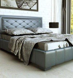 Кровать 160 Кожа 8 серая с ящиком.