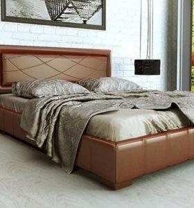 Кровать 160 Кожа бронза ящик для белья.