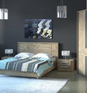 Кровать 160 с жесткой спинкой из спальни.