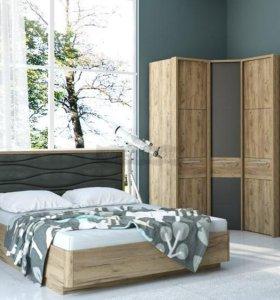 Кровать 160 кожзам серый ящик для белья.