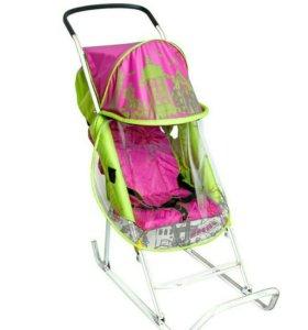 Новые санки-коляска с колесиками Тяни Толкай Город