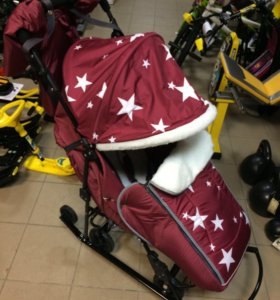 Санки-коляска Pikate-7 бордовые