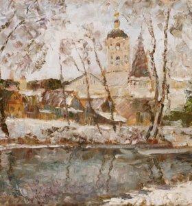 Картина холст масло Пафнутье-Боровский онастырь