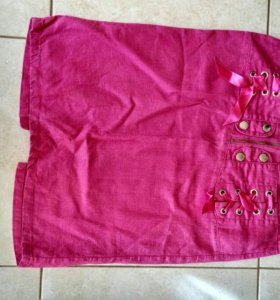 Юбка розовая льняная