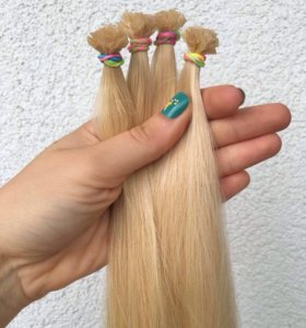 Волосы на капсулах 60 см блонд