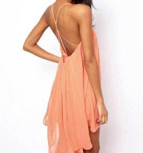Новое персиковое расклешенное платье