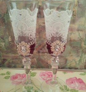 Бокалы для шампанского ручная работа
