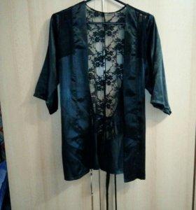 Новый халат атласный с гипюром
