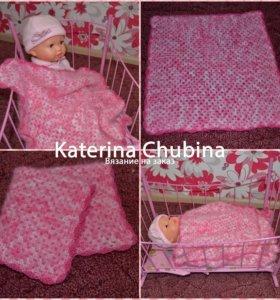 Вязаное одеяло для кукол