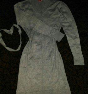 Серое платье и даже можно для беременных ходить.