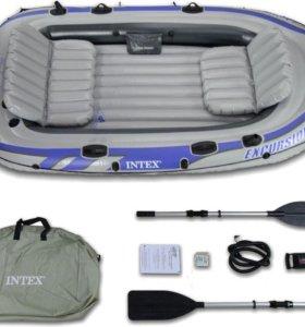 Лодка с мотором Intex Excursion-4 и Flover 33TG