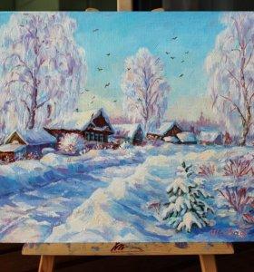 """Картина маслом """"Зима в деревне"""" 24x30"""