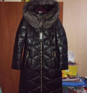 Новый Зимний Кожаный Пуховик, Кожаное Пальто. 110