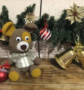 Вязанная игрушка собака Бруно