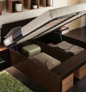 Кровать 160 венге с ящиком для белья.