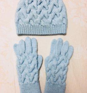 Шапка и перчатки (зима)ручной вязки
