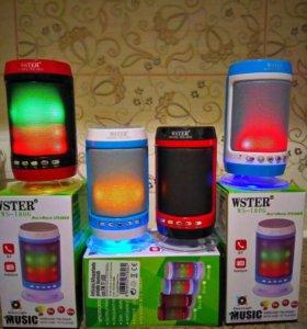 колонка WSTER+светомузыка+Bluetooth+USB+радио+акку