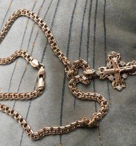 Цепочка и крест золото 585