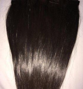 Натуральные волосы на заколках 50 см