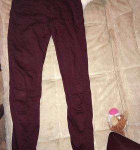 брюки бардовые