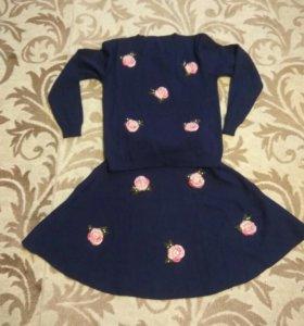 Трикотажный новый комплект юбка+ кофта 44-48