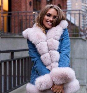 Джинсовая куртка парка  с мехом финского песца