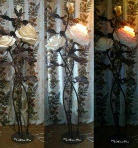 Тройной торшер-розы