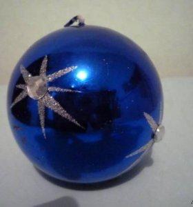 Свеча снежинка-звезда-глянцевый синий шар D=7см