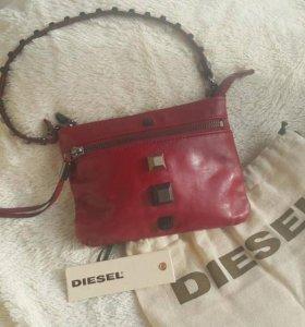 Фирменный клатч Diesel, кожаный +ПОДАРОК!