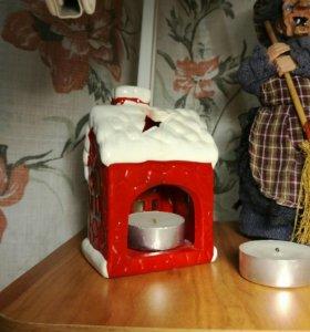 Подсвечник-светильник новогодний и две свечи
