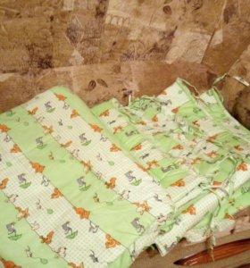 мягкие бортики в детскую кроватку 5 предметов