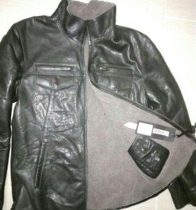 Куртка мужская кожаная зимняя НОВАЯ размер L