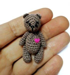 Мишка с сердечком. Вязаная игрушка. Подарок.
