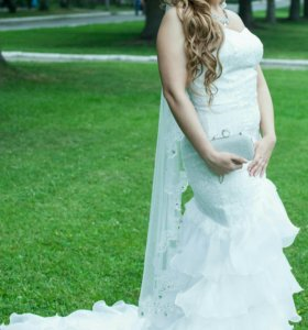 Свадебное платье белое русалка рыбка