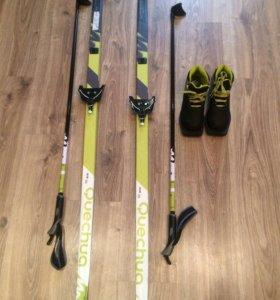 Лыжи, лыжные ботинки, лыжные палки