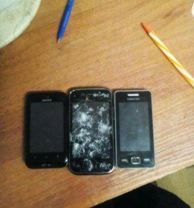 3 телефона (Sony,Micromax,Samsyng).