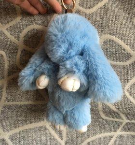 Заяц пушистый голубой 22 см игрушка