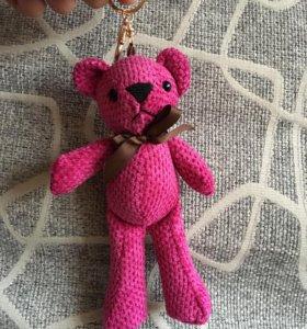 Мишка игрушка брелок большой розовый