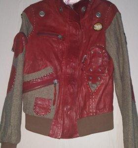 Куртка кожаная комбинированная