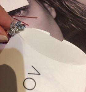 Кольцо серебро 925 топазы+фианиты новое