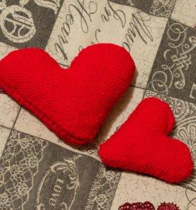 Сердечки вязанные
