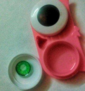 Ярко-зеленые линзы для глаз +коробка софа . Талнах