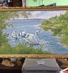 Картина гобелен Лебеди