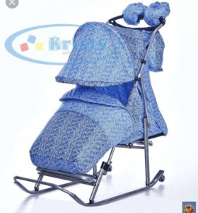 Санки коляска krisry luxe comfort голубое вязание
