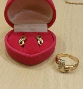 Золотое кольцо 18 р и серьги с фианитами