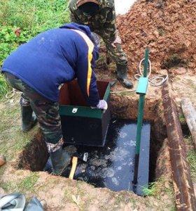 Установка кессонов, обустройство скважины на воду