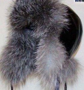 Меховая зимняя Шапка ушанка женская чернобурка