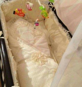 Конверт-одеяло на выписку (одеяло и пелёнка красив