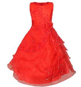 Красное бальное платье для девочки (новое)