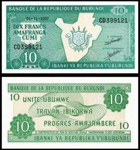 Бурунди 10 франков 2007 года UNC, пресс
